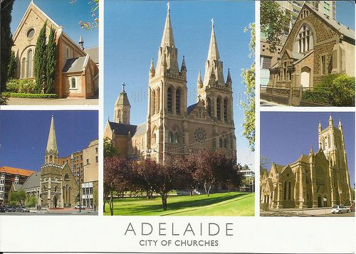 Vintage postcard of 'Adelaide city of churches' by Pati1976 on Flickr • Holy Trinity Church Adelaide • Pati1976 's brief story accompanying this postcard on the history of South Australia is worth reading • Adelaide's churches