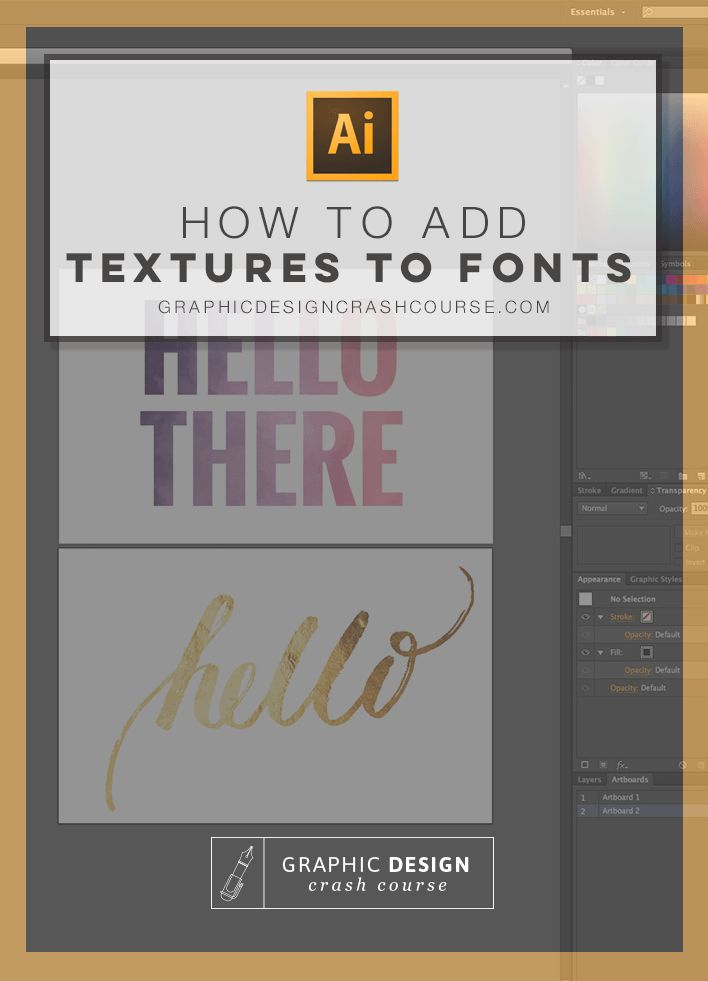 In this Adobe Illustrator tutorial, I'll show you how to easily add watercolor textures, gold foil and any other textureto whatever font you choose. And guess what? This applies to ANY shape or vector image you have in Illustrator. That way you can add texturesto lettering as well. Have fun! WHERE TO GET FONT TEXTURES: …