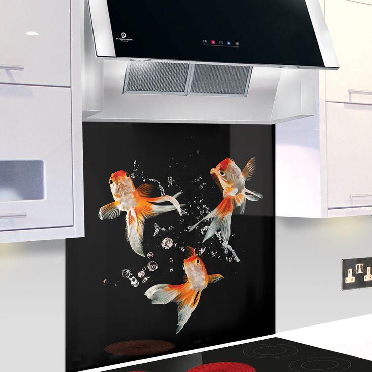Goldfish digitally printed splashback kitchen - Fond de hotte verre noir ...
