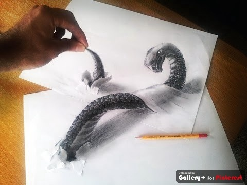 Snake 3D Pencil Drawing - Ramon Bruin