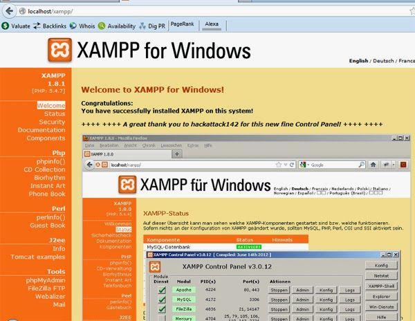 Halaman awal xampp server
