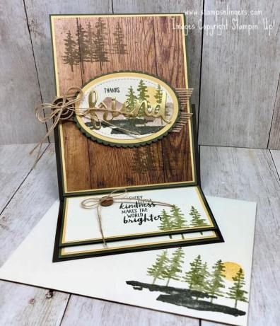 Stamps-N-Lingers.  I am loving this Waterfront stamp set!  And it pairs perfectly with Wood Textures DSP in this easel fun-fold card!  For free instructions on how to make this card, including a video tutorial, please visit my blog at: https://stampsnlingers.com/2018/03/05/stampin-up-waterfront-easel-fun-fold-card/