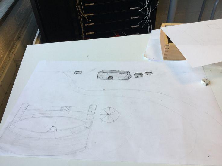 Dit is de tekening met de hutjes bij de horizon. Het tekenen was niet-echt moeilijk maar om het idee te vinden was moeilijk. Maar na 10/15 min te zoeken heb ik een leuke idee gekregen voor de hutjes, en dat staat nu dus in mijn tekening.