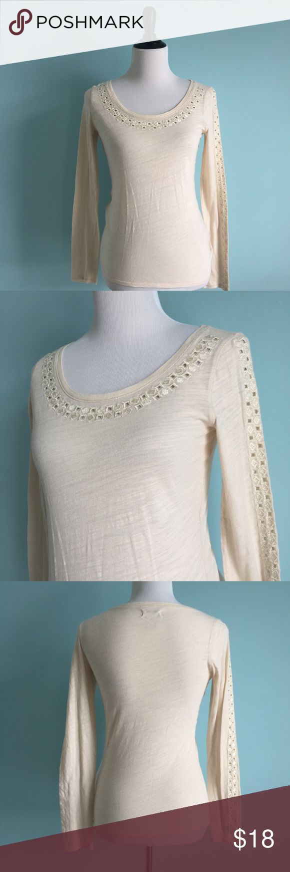 Lucky Brand Cream Embroidered Long-Sleeved Top Cute and comfortable Cream long-sleeved tee with embroidering on neckline and sleeves. Scoop neck. Size extra small by Lucky Brand. Worn only a couple times, in good condition. Lucky Brand Tops Tees - Long Sleeve