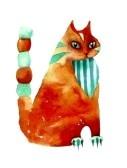красная стилизация кошка акварель Фотография, картинки, изображения и сток-фотография без роялти. Image 13150241.