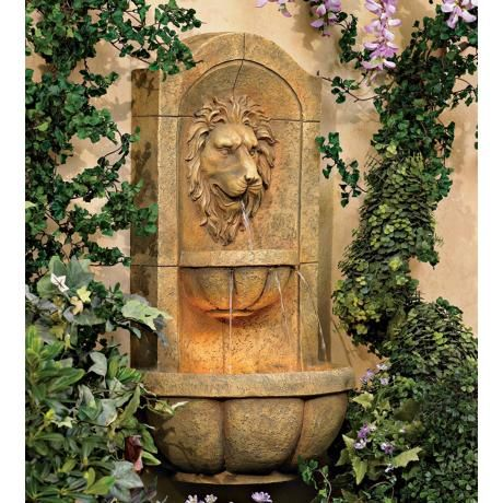 Lion Head Faux Stone 29 1 2 Quot High Wall Fountain Wall