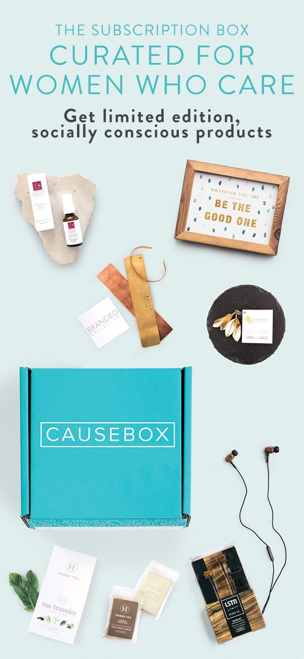 Every product inside of CAUSEBOX has a beautiful story and helps create a better world – because it matters how these products are made, and who they empower. Subscribe today and get a Welcome Box with a beautiful mini cuff, gold foil leaf earrings, zebrawood earbuds, face cream, a traveler tea pack and a reclaimed wood frame.