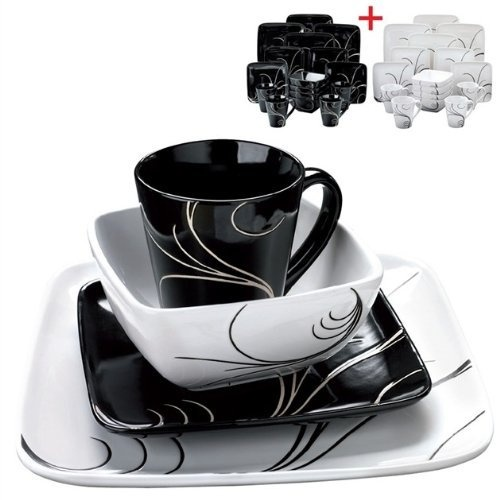 16 + 16-Piece Swirl Dinner Set  Contemporary design square black/white swirl  sc 1 st  Pinterest & 130 best New Home Kitchen images on Pinterest | Accessories ...
