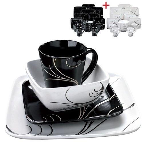 16 16 piece swirl dinner set contemporary design square black white swirl dinner set 1 2 day. Black Bedroom Furniture Sets. Home Design Ideas