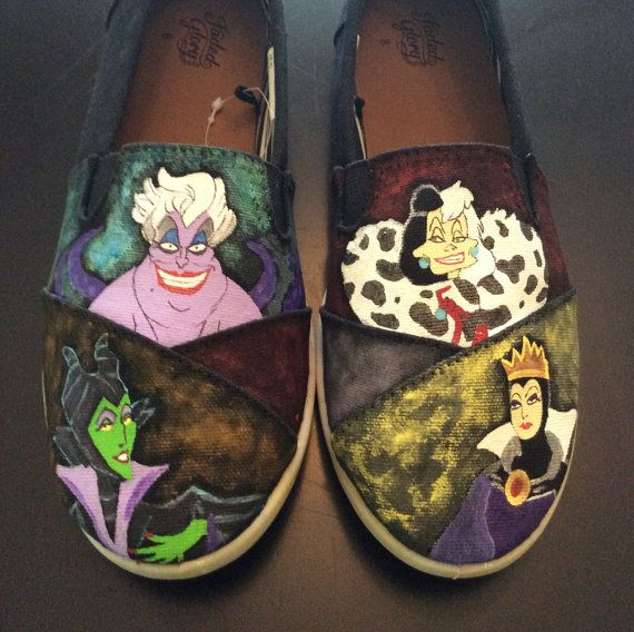 Female Villains Hand Painted Shoes by CustomShoesbySabrina on Etsy, $69.00