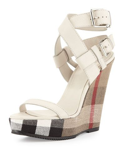 #Burberry Goldfinch Check-Wedge Sandal