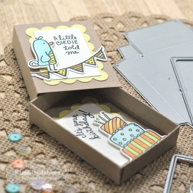 Taylored Expressions - Little Birdy Told Me Happy Birthday - Matchbox. #bird #cake #matchbox #giftgiving #papercraft #crafts #DIY #handmade #diecutting