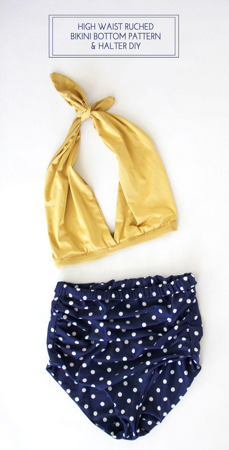 High Waist Bikini DIY with Halter top, free women's pattern