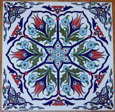 "Ottoman Iznik 6 Tulip Design 8""X8"" 20cm Turkish Ceramic Tile ..."