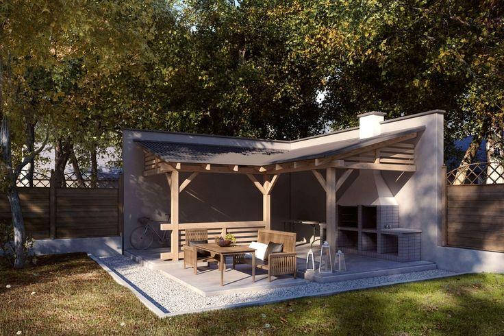 Projekt altany ogrodowej z grillem.