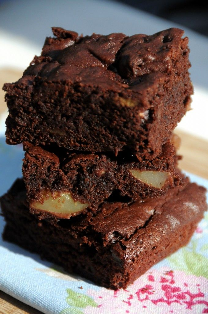 Pear And Chocolate Brownies - Ren Behan
