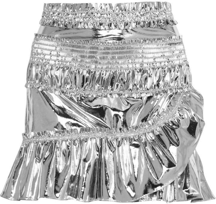 Isabel Marant Jeanne Metallic Coated Cotton-Blend Mini Skirt