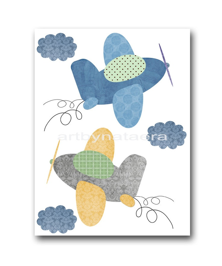 "Art for Children , Kids Wall Art, Baby Boy Room Decor, Nursery print 8"" x 10"" Print,plane,blue,yellow,artwork,collage,gray,green. $14.00, via Etsy."