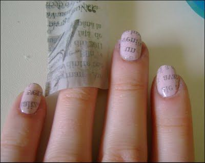 a newspaper, rubbing alcohol, tweezers and of course, some nail polish. Apply base coat, soak a piece of newspaper in alcohol, then press on nail for 5-10 seconds. pulll off let dry and seal with a clear or glitter coat of polish!