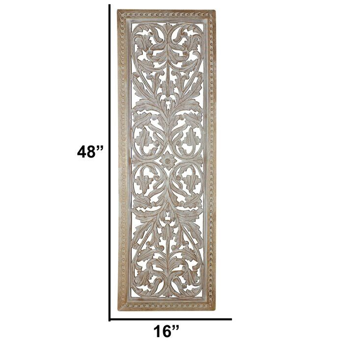 Mango Wood Panel With Intricate Details Wall Decor Wood Panel