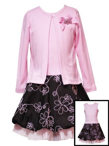 Rare Editions Girls PLUS SIZE 2-Piece PINK BROWN FLORAL EMROIDERED BUBBLE SKIRT Cardigan/Jacket Dress Set - 12.5 Rare Editions, http://www.amazon.com/dp/B0030L0ETI/ref=cm_sw_r_pi_dp_Gkh9pb0T5YNG4