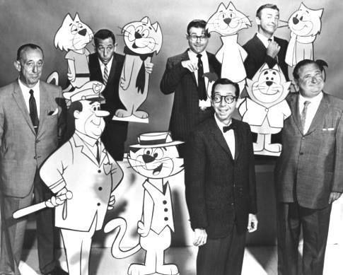 """Top Cat"" - 1961-1962 (ABC), 1965-1969 (NBC)  Here are the voice actors of ""Top Cat"". From left, Allen Jenkins (Officer Dibble), Leo DeLyon (Brain and Spook), Marvin Kaplan (Choo Choo), Arnold Stang (Top Cat), John Stephenson (Fancy Fancy) and Maurice Gosfield (Benny)."