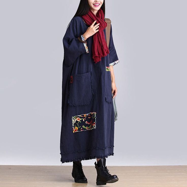 Осень зима платье голубой цвет хлопок белье платье с длинным рукавом платье макси случайные свободные длинный халаткупить в магазине Mira's Natural LifeнаAliExpress