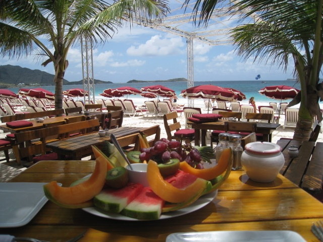 Fruit plate at a beachfront restaurant in St. Martin