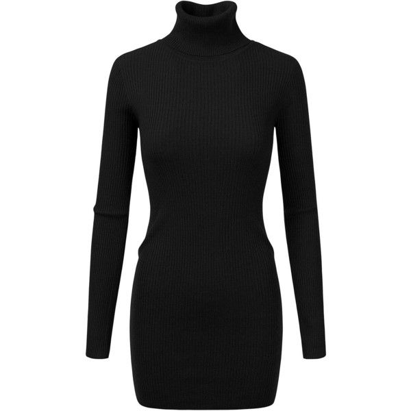 Doublju Womens Turtleneck Ribbed Knit Sweater Dress at Amazon Women's... ($30) ❤ liked on Polyvore featuring dresses, turtle neck dress, ribbed knit turtleneck, polo neck dress, turtleneck dress and rib knit dress