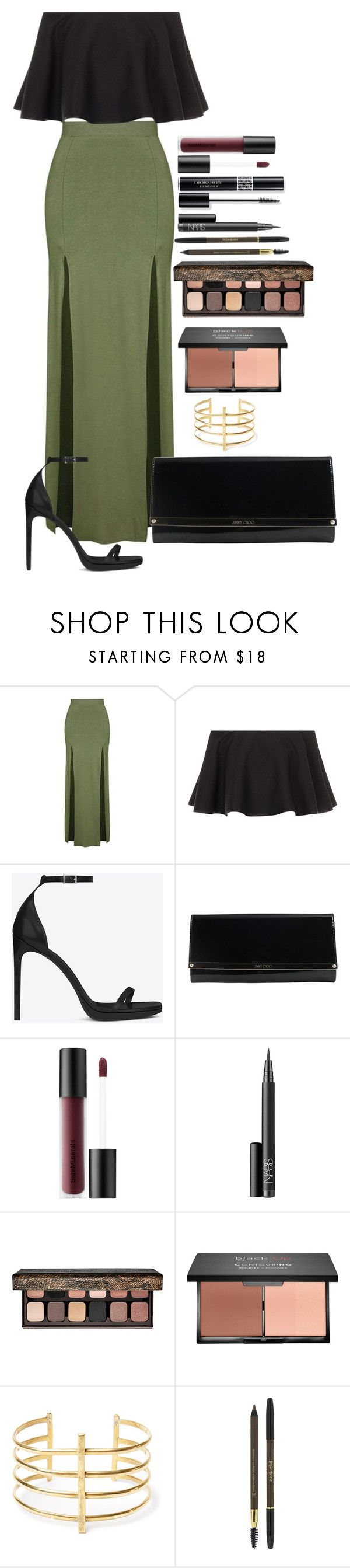 """Untitled #1580"" by fabianarveloc on Polyvore featuring Topshop, Rosetta Getty, Yves Saint Laurent, Jimmy Choo, Bare Escentuals, Christian Dior, NARS Cosmetics, Laura Mercier and BauXo"