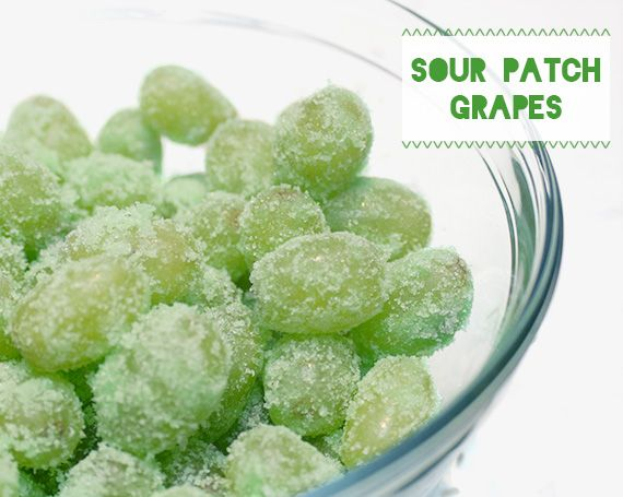 Thoroughly wash a pound of grapes, and dump them into a large Ziploc bag while they're still wet.  Pour in a box of Jello powder and shake shake shake!  When the grapes are fully coated, pour them out into a bowl and refrigerate until the sugar sets into a wonderfully crunchy shell.