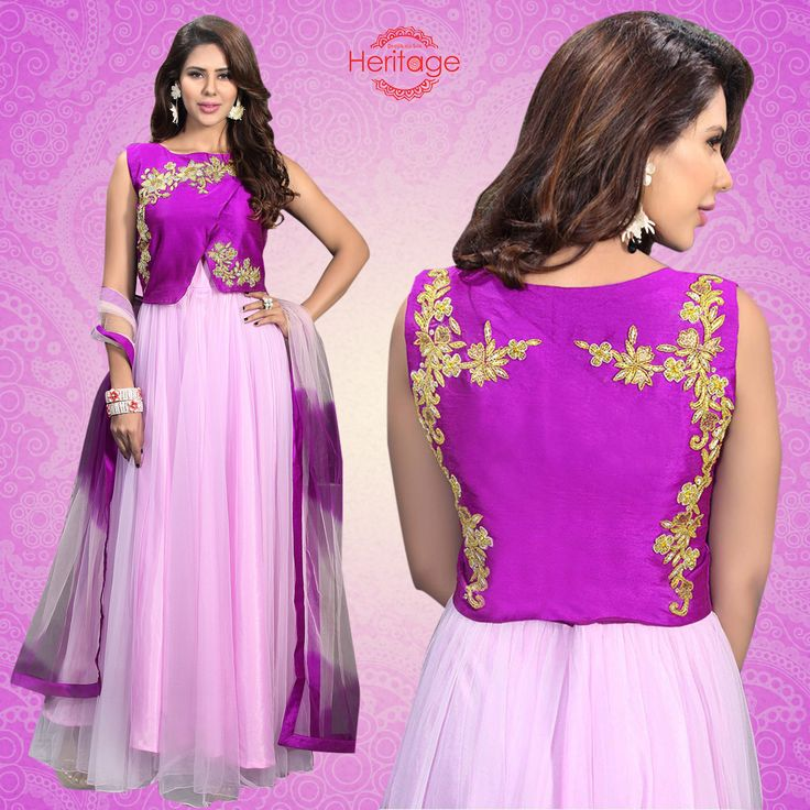 Purple And Pink Jacket Style Floor Length Embroidered Anarkali Suit