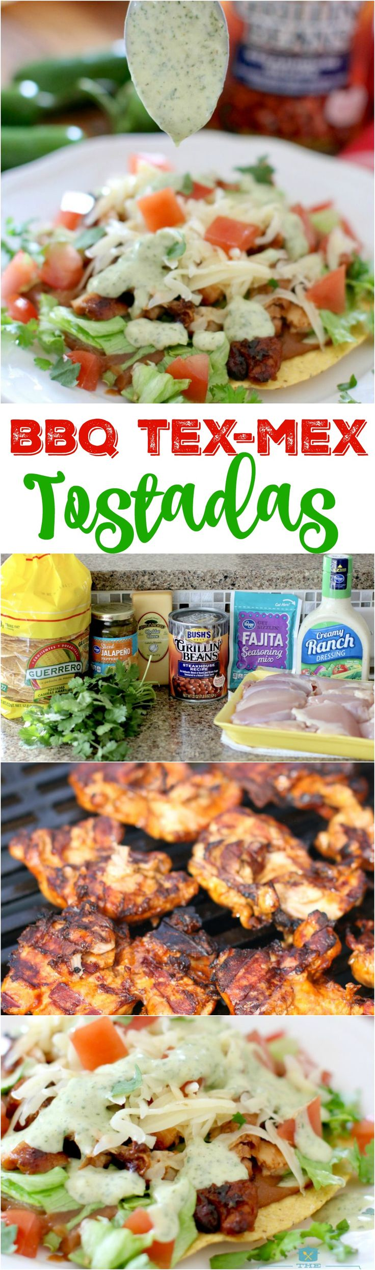 BBQ Tex-Mex Tostadas are so simple but the simple ingredients combined have the MOST amazing flavor! We absolutely loved this. The chicken marinade was perfection and the cilantro ranch sauce was SO good with this! Using blended BUSH'S Beans is genius! #bushsbeans #ad