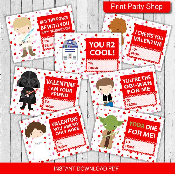 Star Wars Valentines Cards / Printable / PDF / por printpartyshop