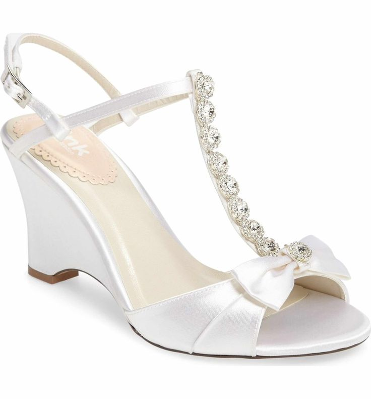 Main Image - pink paradox london Sand Embellished T-Strap d'Orsay Wedge (Women)