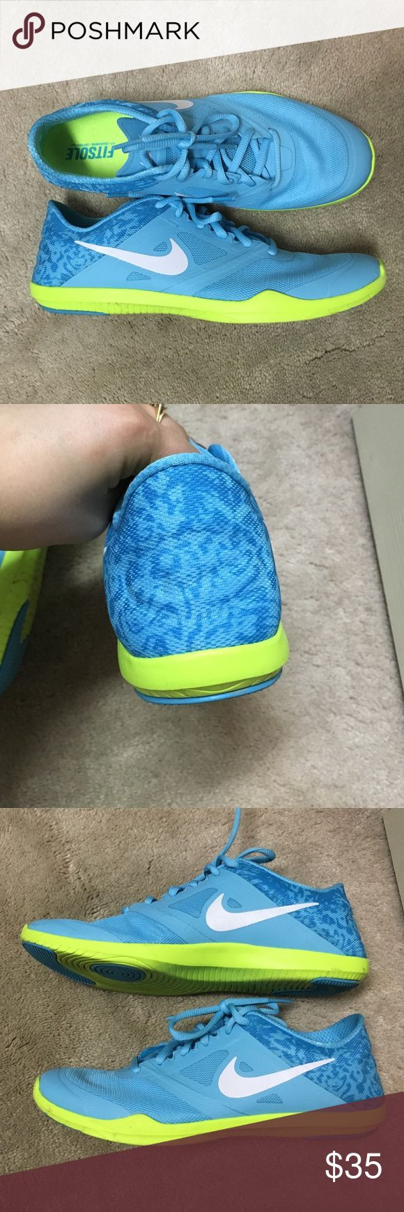 Nike Running Shoes Light blue and neon running shoes. Worn a few times. Very light and comfortable Nike Shoes Athletic Shoes