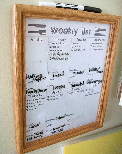 Weekly List - divides chores, meals, and to-do list.  Printed sheet framed behind glass. Use a marker to keep track of the week.