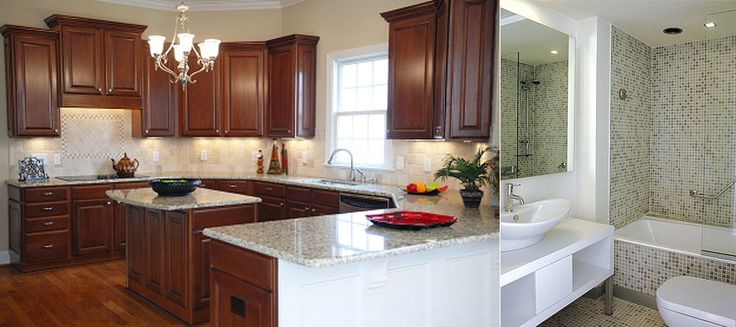 On Left - Stained Cabinets, White Trim