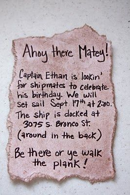 Cute invitation for a Pirate Birthday Party - could even DIY
