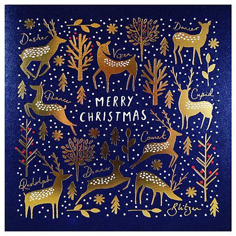 John Lewis/ Woodmansterne Golden Reindeer Luxury Christmas Cards