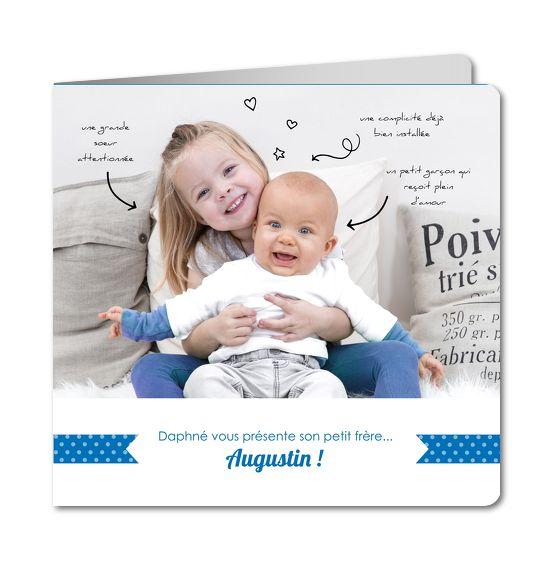 Faire part naissance frere et soeur │ Planet-Cards.com
