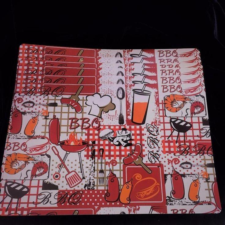 6 Large Placemats Plastic Coated Summer BBQ Design Hot Dogs Burgers Shrimp #Unbranded