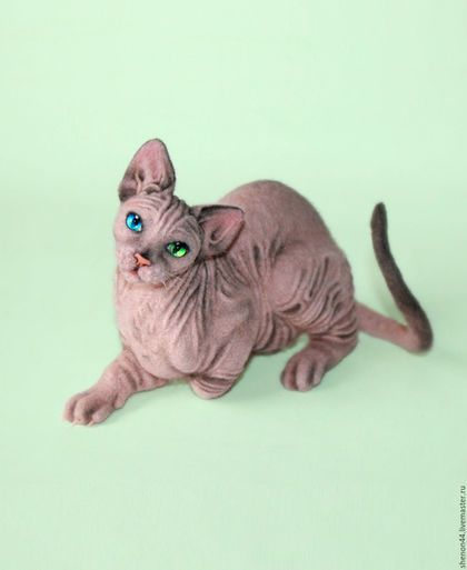 Купить Клео - розовый, кошка, Сфинкс, валяная игрушка, домашние животные, котенок, животное
