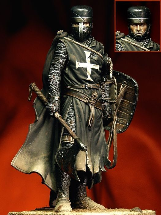 From the looks of it, a Templar sergeant with the bearing of a grizzled veteran (edit by JK Swift: looks like a Hospitaller to me!)