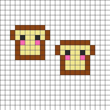 Cute Bread Twins Perler Bead Pattern   Perler Bead Patterns   Food Fuse Bead Patterns