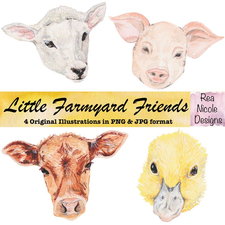Farm animals watercolor clipart, perfect for scrapbooks,digital projects,planners,craft projects, printable art, stickers by ReaNicoleDesigns on Etsy