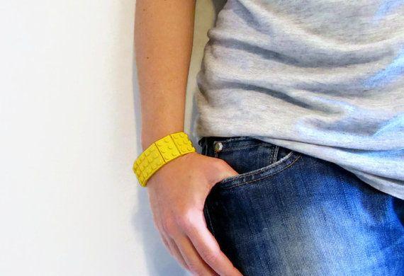 Bracelet made from LEGO® Bricks, Yellow Bracelet, Elastic Cuff Bracelet, Plastic Bracelet, Cosplay Accessories, LEGO® Jewelry, Geekery Gifts