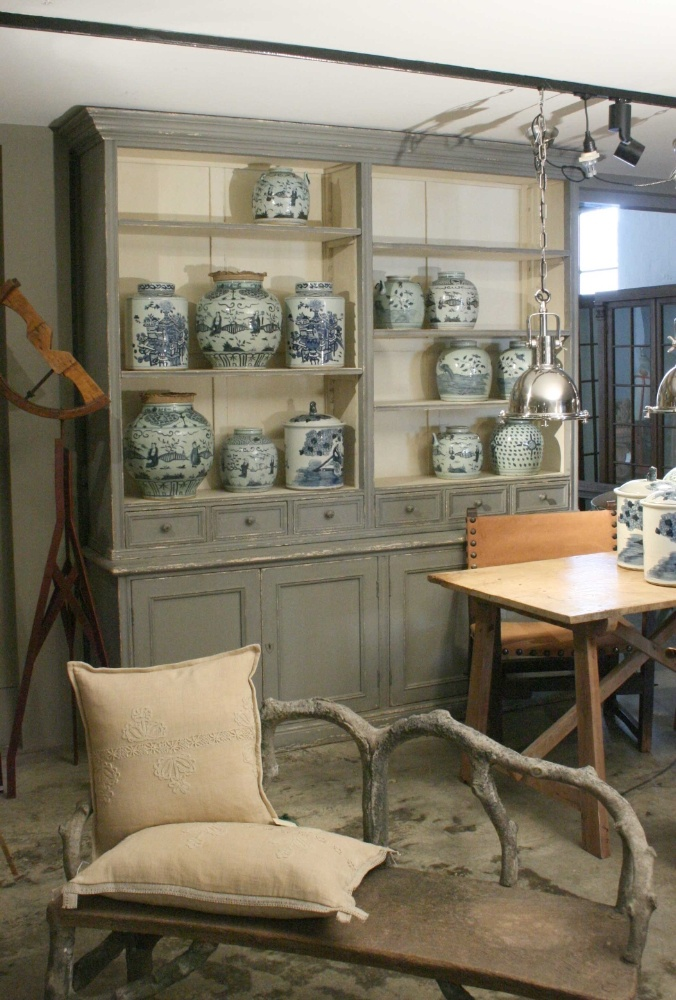 19th century grey painted pine shop cabinet  Grey will look good with all of my transfer ware