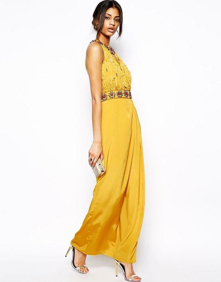Virgos Lounge Lara Embellished Neck Maxi Evening Dress Yellow UK 14/EU 42/US 10