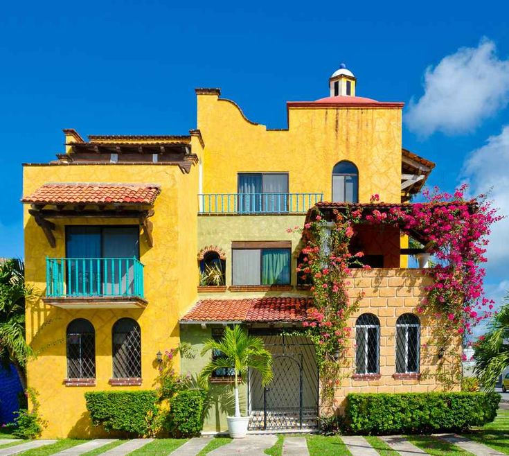 Best Yellow Houses Images On Pinterest Yellow Houses A House - Tropical house colors